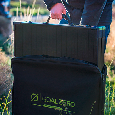 Goal Zero Boulder 100 Briefcase in a shipping bag