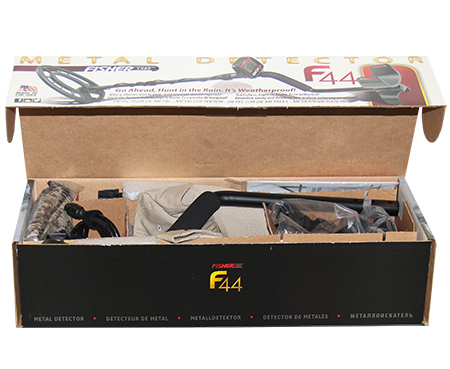 Fisher F44 metal detector in branded box
