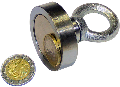 euro coins and magnet